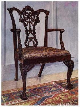 Mahogany Armchair, Style of Chippendale, 1911-1912 by Edwin Foley