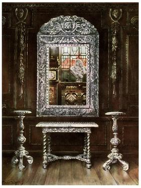 Mirror, Gueridons, and Table Overlaid with Silver Plaques, 1910 by Edwin Foley
