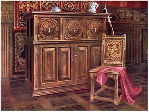 Oak Cabinet and Walnut Chair, 1910 by Edwin Foley