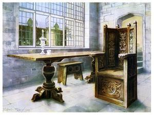 Oak Trestle Table and Mine Host's Chair, 1910 by Edwin Foley