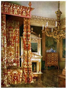 Queen Anne's Bed, Chest of Drawers Upon a Stand and a Wooden Candelabra, 1910 by Edwin Foley