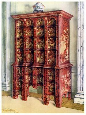 Red and Gilt Lacquer Double Chest of Drawers, 1910 by Edwin Foley