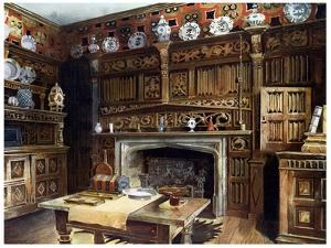 The Panelled Study at Groombridge Place, Kent, 1910 by Edwin Foley