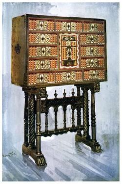 Vargueno Cabinet of Chestnut, Ivory and Other Materials, 1910 by Edwin Foley