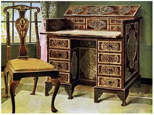 Walnut Inlaid Writing Table, 1910 by Edwin Foley