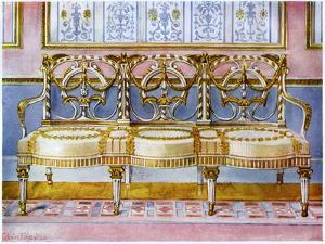White Gilt and Painted Settee, Pergolesi Influence 1911-1912 by Edwin Foley