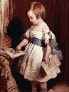 Child with a Drawing by Edwin Henry Landseer