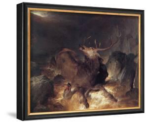 Deer and Deerhounds in a Mountain Torrent by Edwin Henry Landseer