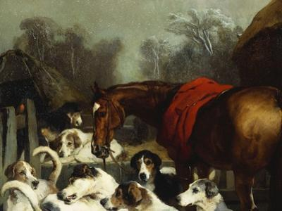 No Hunting Till the Weather Breaks' (Or 'Hunter and Hounds') by Edwin Henry Landseer