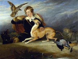 Richard Cavendish with 'spot', the 6th Duke of Devonshire's Italian Greyhound, C.1828 by Edwin Henry Landseer
