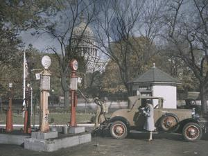A Filling Station in the Shadow of the United States Capitol, Photograph Dated 1929 by Edwin L. Wisherd