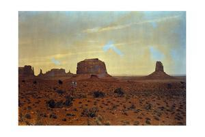 A Sunlit View of Monument Valley, Rises Up on the Utah-Arizona Border by Edwin L. Wisherd