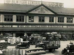 Barclay Street Station of the New York Central and Hudson River Railroad in the Early 1900s by Edwin Levick