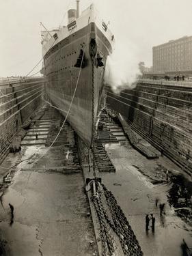 Majestic in Dry Dock by Edwin Levick