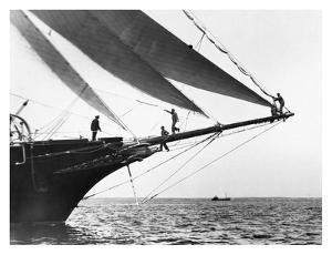 Ship Crewmen Standing on the Bowsprit, 1923 by Edwin Levick