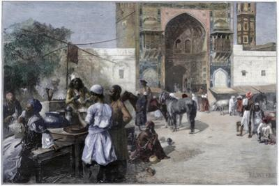 An Open-Air Restaurant at Lahore, India, 1880