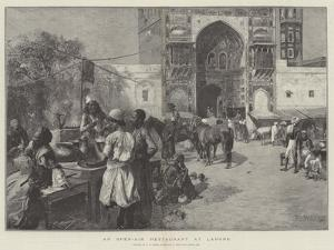 An Open-Air Restaurant at Lahore by Edwin Lord Weeks