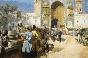 An Open-Air Restaurant, Lahore, C1889 by Edwin Lord Weeks