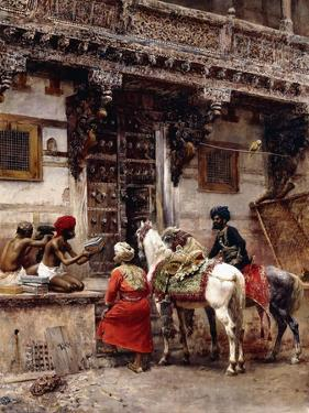 Craftsman Selling Cases by a Teak-Wood Building, Ahmedabad, C.1885 by Edwin Lord Weeks