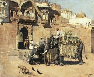 Elephants Outside a Palace, Jodhpore, India by Edwin Lord Weeks