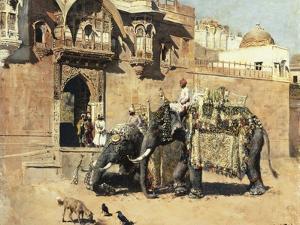 Elephants Outside a Palace, Jodhpore, India by Edwin Lord Weeks
