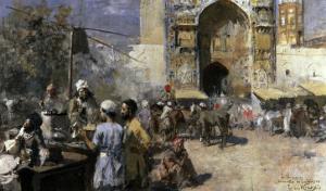 Market Scene by a Mosque by Edwin Lord Weeks