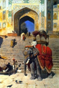 Royal Elephant at the Gateway to the Jami Masjid, Mathura, 19th or Early 20th Century by Edwin Lord Weeks