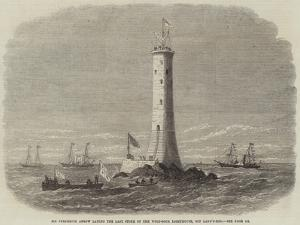 Sir Frederick Arrow Laying the Last Stone of the Wolf-Rock Lighthouse, Off Land'S-End by Edwin Weedon