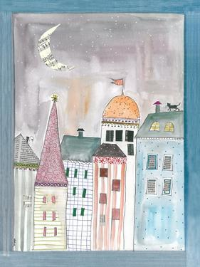 Fantasy Cityscape with Cat on Roof by Effie Zafiropoulou