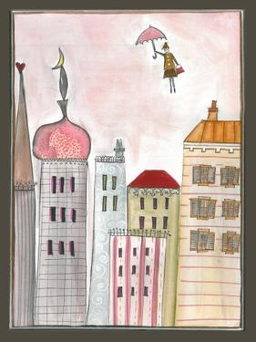 Fantasy Cityscape with Flying Nanny by Effie Zafiropoulou