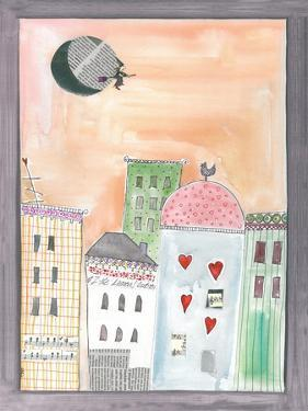 Fantasy Cityscape with Flying Witch on Broom by Effie Zafiropoulou