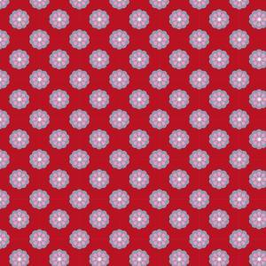 Pattern Blue Rosette on Wine Red by Effie Zafiropoulou