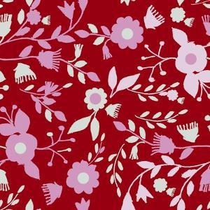 Pattern Branches on Red Background by Effie Zafiropoulou
