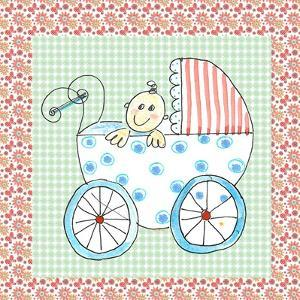Square Card Baby in Carriage by Effie Zafiropoulou