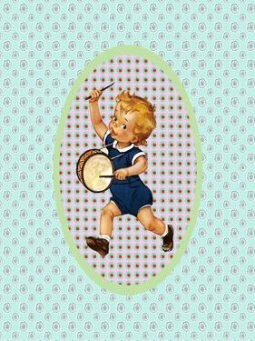 Vintage Boy with Drum by Effie Zafiropoulou