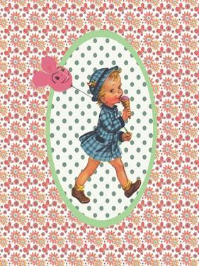 Vintage Card Girl with Ice Cream by Effie Zafiropoulou