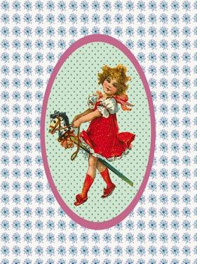Vintage Christmas Girl with Hobby Horse by Effie Zafiropoulou