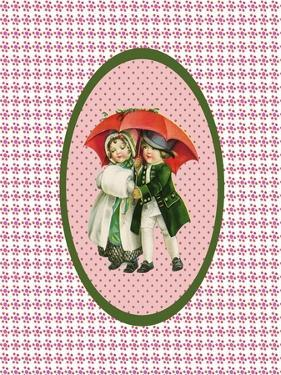 Vintage Xmas Children with Umbrella by Effie Zafiropoulou