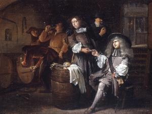 Gentlemen Tasting Wine in a Cellar by Egbert Van Heemskerck