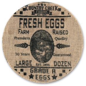 Egg Advertising Burlap Plate