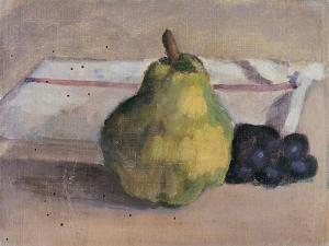 Still Life with Pear and Grapes by Egisto Paolo Fabbri