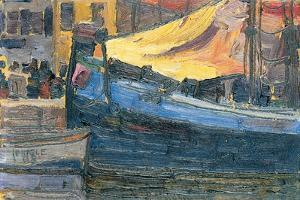 Anchored Boats with a House Wall in the Background, 1908 by Egon Schiele