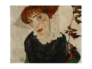 Bildnis Wally. Oil on wood (1912) 32.7 x 39.8 cm L 212. by Egon Schiele
