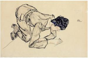 Erich Lederer Drawing on the Floor, 1912 by Egon Schiele