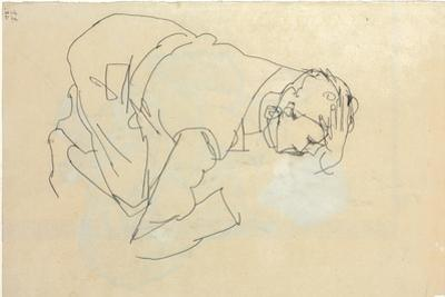 Erich Lederer in Profile, Hand to Head, 1912 by Egon Schiele