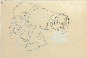 Erich Lederer in Profile, Hand to Head, 1912 by Egon Schiele