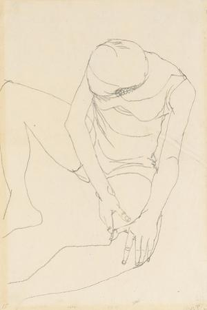 Female Nude Bent Forward, Both Hands on the Left Thigh, 1913 by Egon Schiele