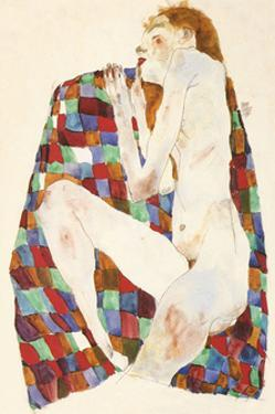 Female Nude on Coloured Blanket, c.1911 by Egon Schiele