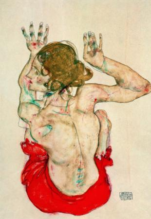 Female Nude Seated on Red Drapery by Egon Schiele