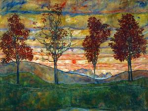 Four Trees, c.1917 by Egon Schiele
